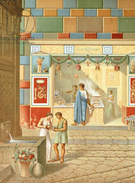 Reproduction of a shop near the Fountain of Mercury, from The Houses and Monuments of Pompeii, by Fausto and Felice Niccolini, Volume IV, Essays in Restoration, Plate VIII, 1854-1896.