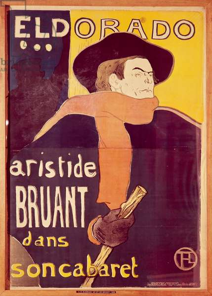 Eldorado, Aristide Bruant dans son cabaret (Eldorado, Artistide Bruant in his nightclub), 1892, poster illustrated by Henri de Toulouse-Lautrec (1864-1901), lithograph by brush and spray, 136x94 cm, France, 19th century