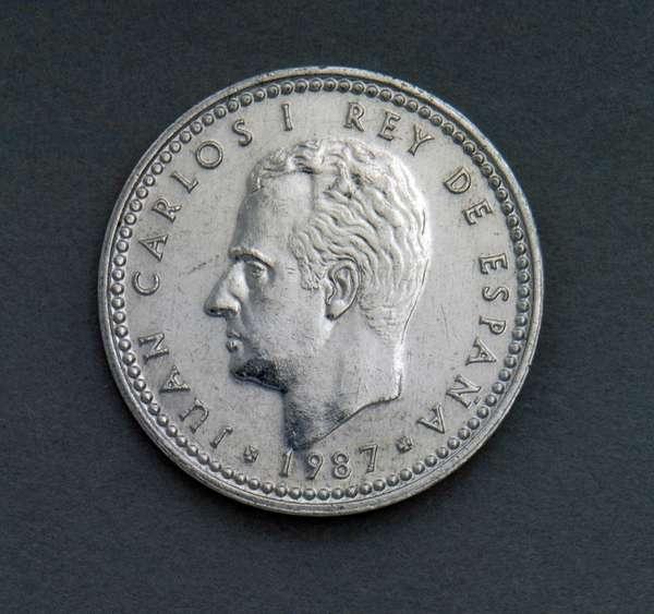 1 peseta coin, 1987, obverse, Juan Carlos I (1938-), Spain, 20th century