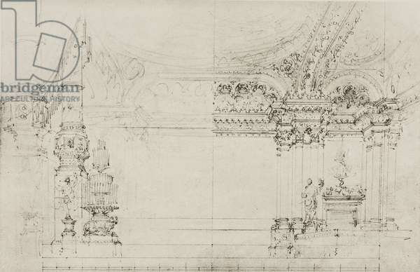 Throne room in the Imperial palace, sketch for Act IV, Scene VII of the opera Mefistofele by Arrigo Boito, Season 1868, from 500 stage design sketches in five volumes, 1919, by Carlo Ferrario (1833-1907).
