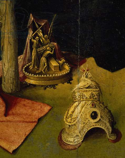 Tiara and golden sculpture depicting the sacrifice of Isaac, detail from Adoration of the Magi, by Hieronymus Bosch, 1510, oil on canvas, Circa 1450-1516, 138x144 cm