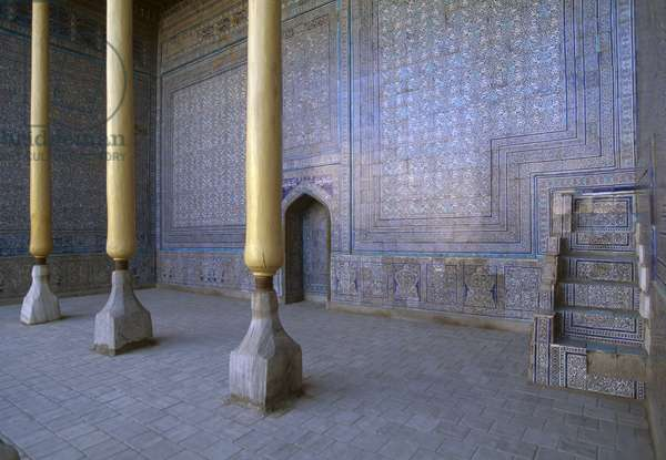 Columns of the Summer mosque, 1838, located inside the Kuhna Ark fortress, Itchan Kala (UNESCO World Heritage List, 1990), Khiva, Uzbekistan