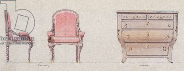 Armchair and commode for Golden Room, 1875, by Eugene-Emmanuel Viollet-Le-Duc (1814-1879), watercolor drawing, France, 19th century