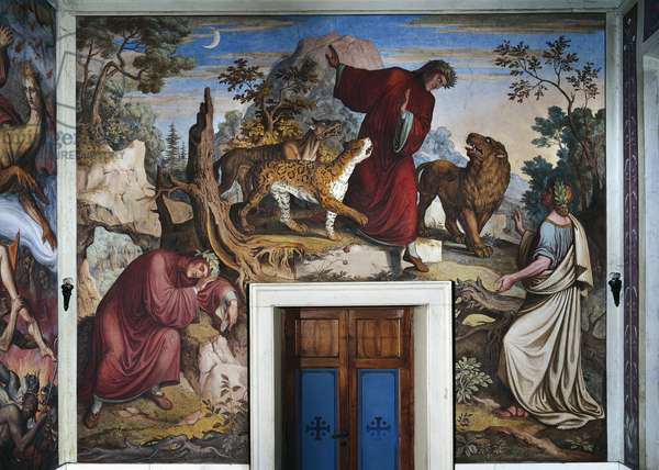 The meeting between Dante and Virgil, fresco by Joseph Anton Koch (1768-1839) carried out in collaboration with Nazarene Movement's painters, Dante Hall, Casino Massimo, Rome, Italy, 19th century