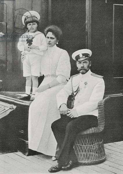 Portrait of Nicholas II Romanov (1868-1918) with his wife Alexandra Feodorovna Romanova (1872-1918) and son Alexei Nikolaevich Romanov (1904-1918)