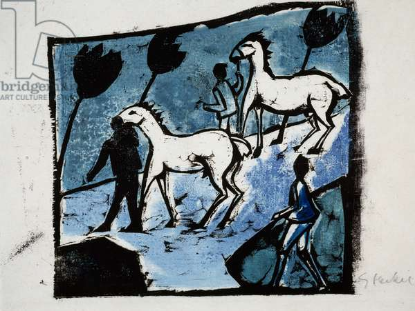 White Horses, 1912, by Erich Heckel (1883-1970), woodcut. Germany, 20th century.
