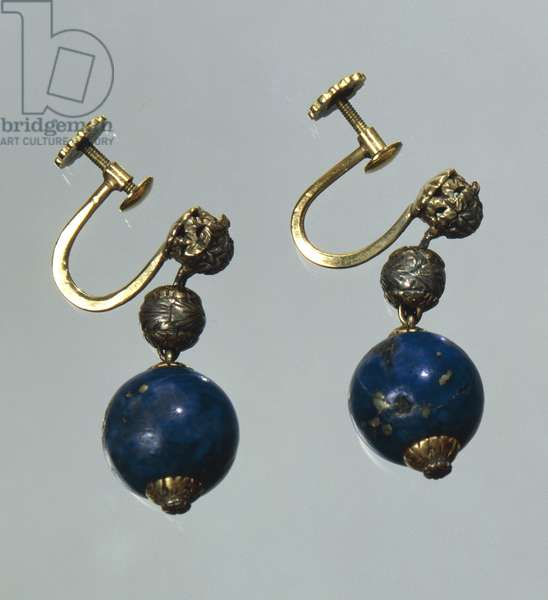 Lapis lazuli earrings with gold and silver elements. Part of parure together with waist necklace, created for Gabriele D'Annunzio, 1930s.