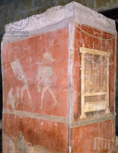 Italy, Naples, Museo Archeologico Nazionale, Dyers, painting from House of Fullonica in Pompeii (UNESCO World Heritage List, 1997), 1st Century