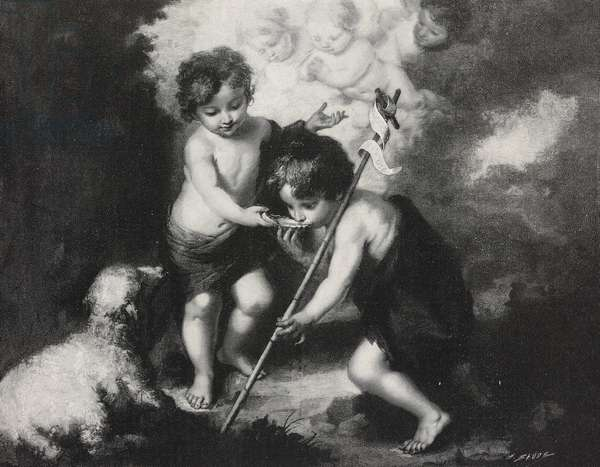 Jesus and St John Baptist, painting by Bartolome Esteban Perez Murillo (1618-1682), from L'Illustrazione Italiana, Year XXIII, No 32, August 2, 1896