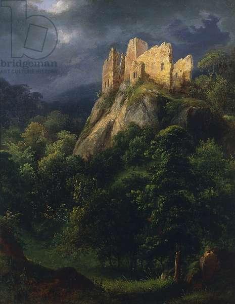 Romantic ruin, painting by Ferdinand Schubert (1824-1853).