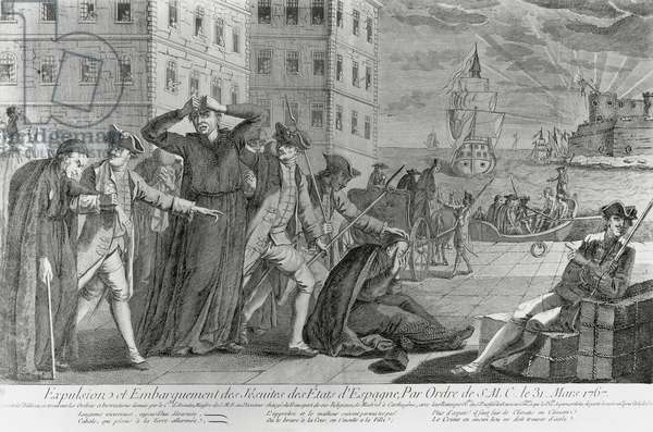 Expelled Jesuits boarding ships out of Spain, 1767, on orders of Charles III (1716-1788), engraving, 18th century
