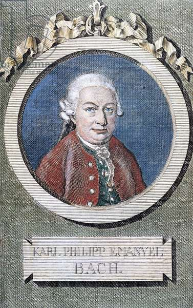 Portrait of Karl Philipp Emanuel Bach (Weimar, 1714-Hamburg, 1788), German composer and musician, fourth son of Johann Sebastian Bach (1685-1750)