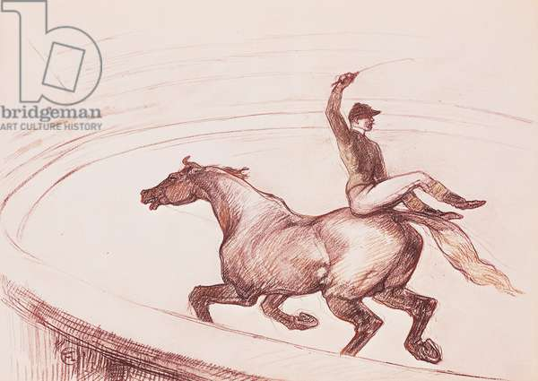 Acrobat on horseback by Henri de Toulouse Lautrec (1864-1901), drawing with colored pencils