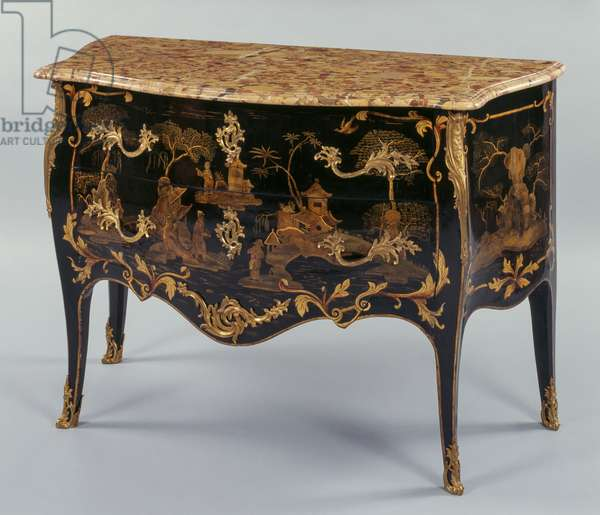 Louis XV style commode, in black and gold lacquered wood according to Chinese taste, Aleppo marble top, two drawers, arched legs, rich chiseled and golden bronze decorations, stamped by Dubois, 88,5x129,5,61,5cm, France, 18th century