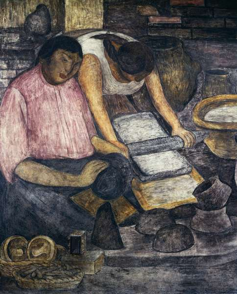 Pottery making, by Diego Rivera (1886-1957), detail from the Ministry of Education frescoes (1923-1928), Mexico City. Mexico, 20th century.