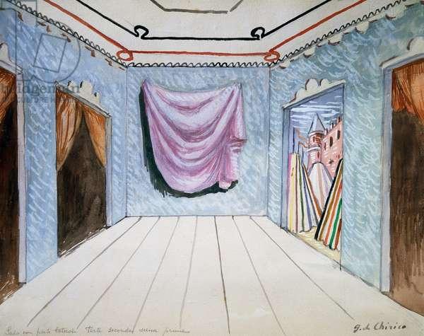 Scenography by Giorgio De Chirico (1888-1978) for Act II Scene I of Vincenzo Bellini's The Puritans, Italy, 20th century