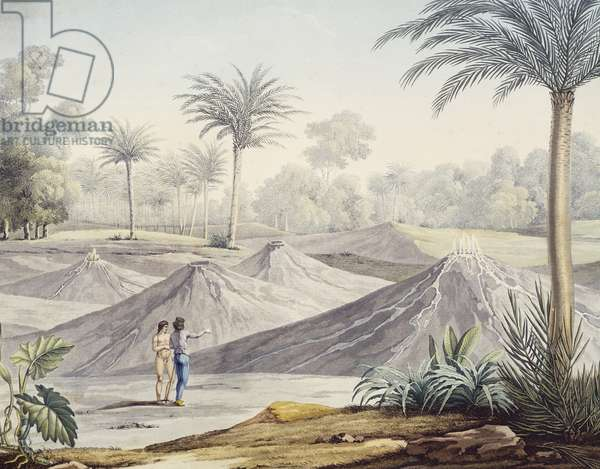 Volcanoes in region of Turbaco, Colombia, engraving based on painting by Louis de Rieux, 1810, Paris, South America, 19th century