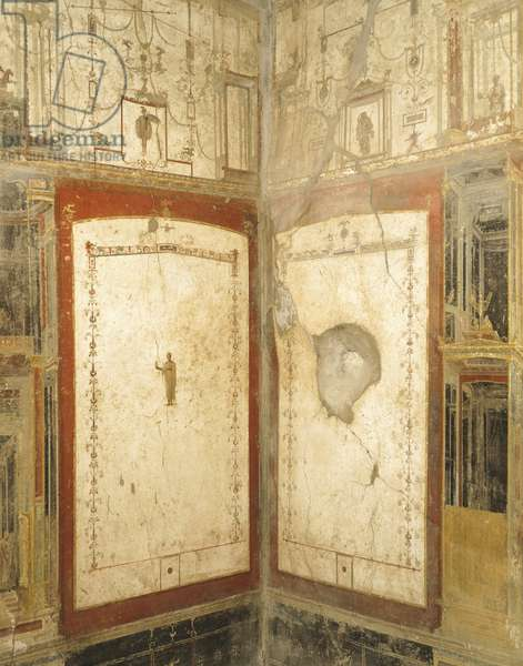 Detail of room in House of Loreio Tiburtino, Pompeii , Campania, Roman Civilization, 1st Century