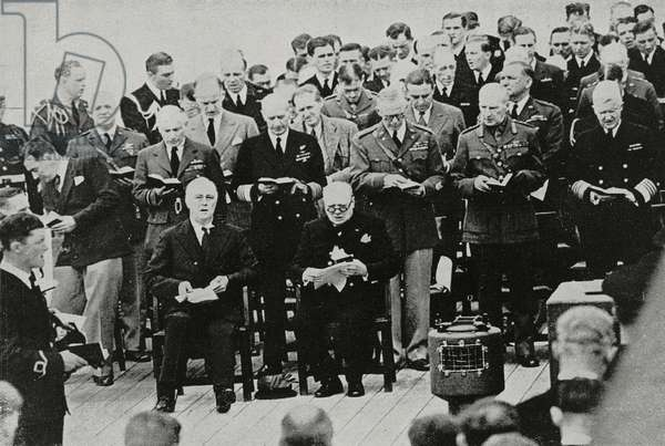 US President Franklin Delano Roosevelt (1882-1945) and British Prime Minister Winston Churchill (1874-1965) on British battleship HMS Prince of Wales to sign Atlantic Charter, August 1941, Terra Nova Bay, Canada, World War II