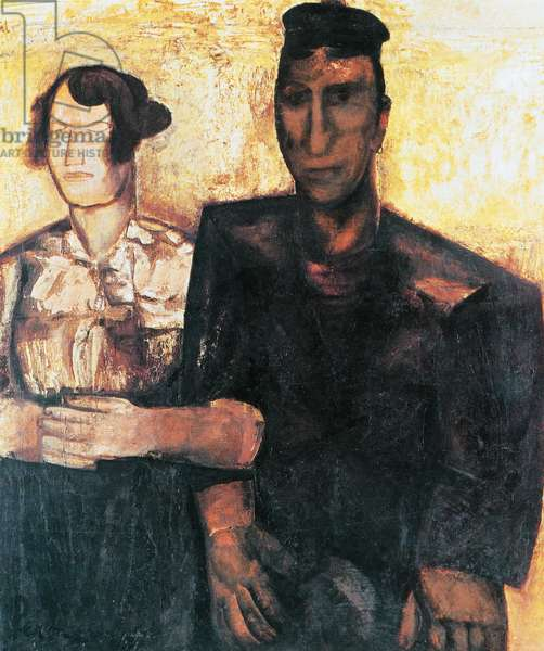 The Betrothed, 1923, by Constant Permeke (1886-1952), oil on canvas, 151x130 cm. Belgium, 20th century.