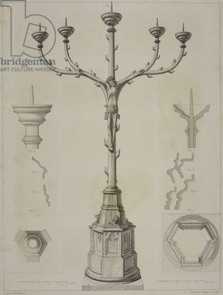 Five-branch candelabra, St Kunibert church, Cologne, Germany, drawing by Hoffmann, engraving by J Bury and Jean-Joseph Sulpis (1826-1911), from L'Architecture du V au XVI siecle et les Arts qui en dependent, 1853-1857, by Jules Gailhabaud (1810-1888)