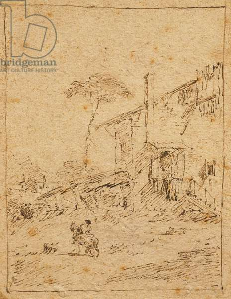 Landscape of Trentino, by Francesco Guardi (1712-1793), drawing