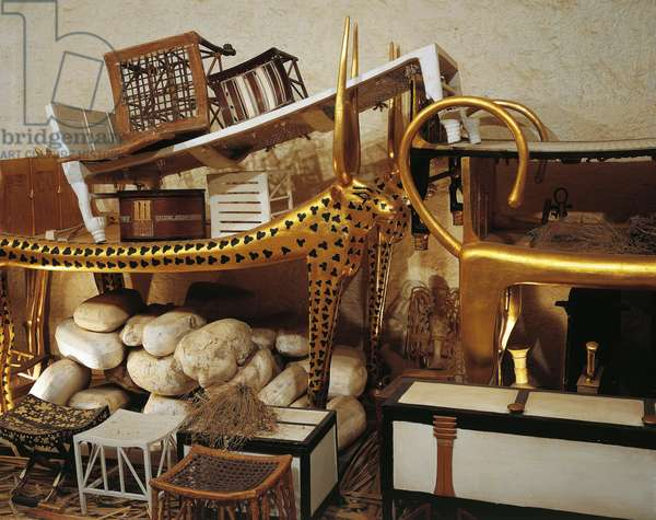 Replica of antechamber of tomb with parts of beds and furniture for eternity, from King Tutankhamen's tomb
