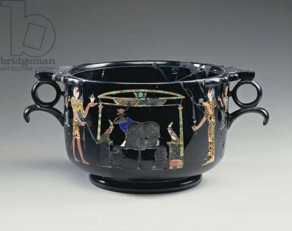 Black obsidian bowl depicting Egyptian style offering scene, from Stabile, Villa San Marco