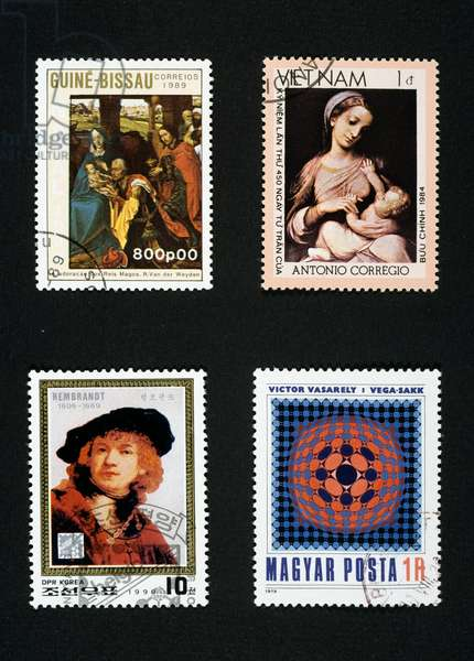 Postage stamps: Adoration of Magi by Van der Weyden, 1989, Guinea Bissau, Madonna and Child by Correggio, 1984, Vietnam, 1990, portrait of Rembrandt, North Korea, by Victor Vasarely, 1979, Hungary, 20th century
