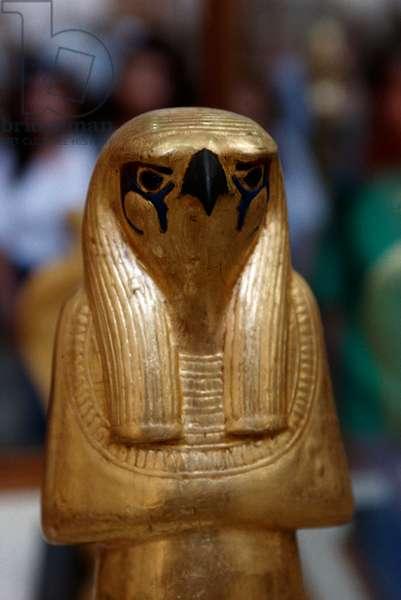 Gilded wooden statuette of Horo, Treasury of Tutankhamun, 1333-1323 BC, Egypt, Egyptian civilization, New Kingdom, Dynasty XVIII, Detail