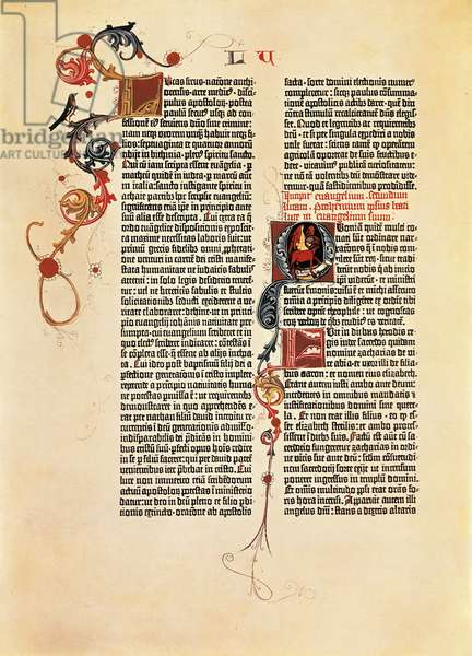 Page from the Bible of 42 lines (Mazarina), printed by Johan Gutenberg, 15th Century.