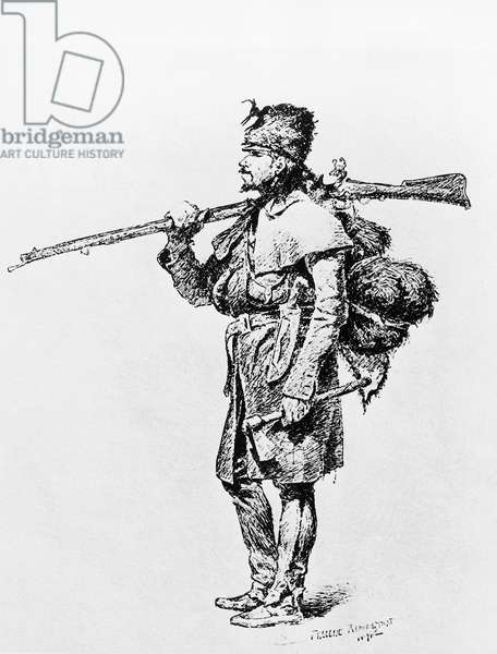 Fur trader, engraving by Frederic Remington (1861-1909), United States of America, 19th century