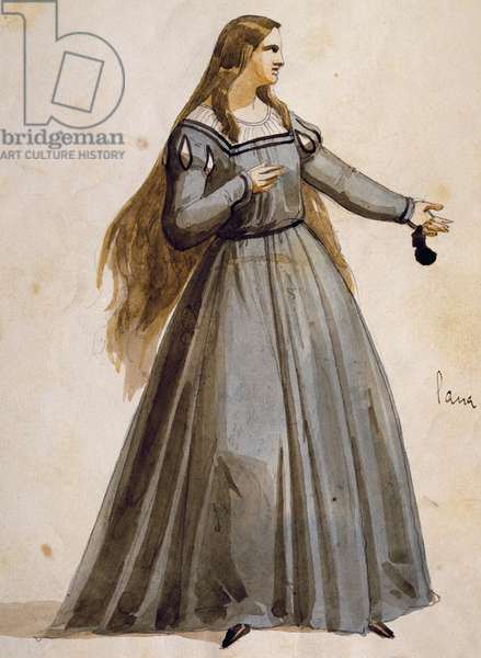 Costume sketch for Margaret, in act III of Mephistopheles, opera by Arrigo Boito (1842-1918)