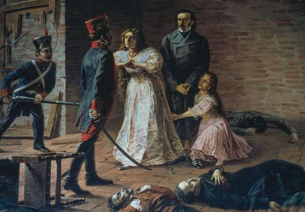 Death of patriots on August 2, 1810 in Quito, painting, Ecuador, 19th century
