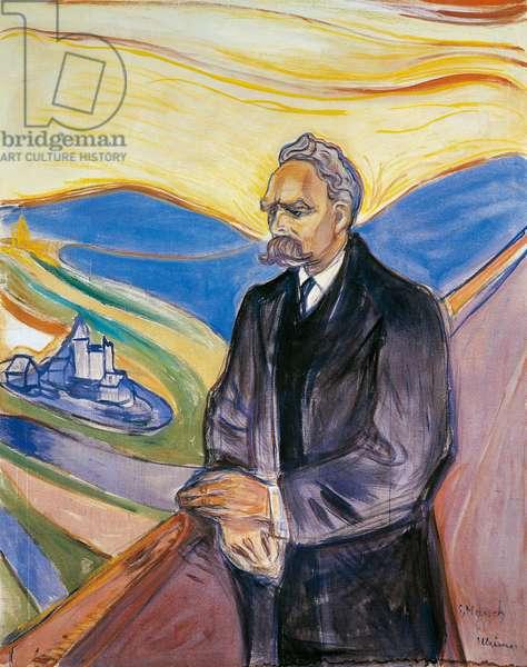 Portrait of German philosopher Friedrich Nietzsche (Rocken, 1844-Weimar, 1900), 1906, by Edvard Munch (1863-1944), oil on canvas. Norway, 20th century.
