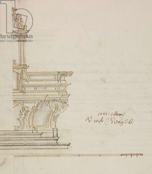 Design for high altar of parish church of Orsenigo, parish of Incino Erba, June 18, 1765, Cardinal Giuseppe Pozzobonelli, elevation drawing, Italy, 18th century