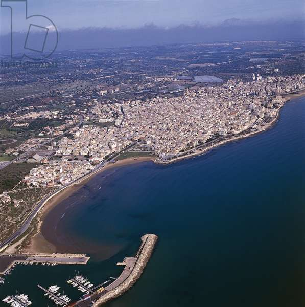 Aerial view of buildings at a seaside, Pozzallo, Province of Ragusa, Sicily, Italy (photo)