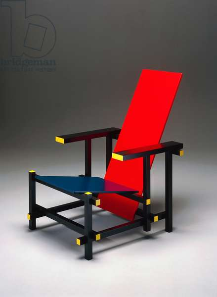 Red and Blue Chair (Rood-blauwe stoel), 1919, by Gerrit Thomas Rietveld (1888-1964), lacquered coloured wood, made by De Stijl. The Netherlands, 20th century.