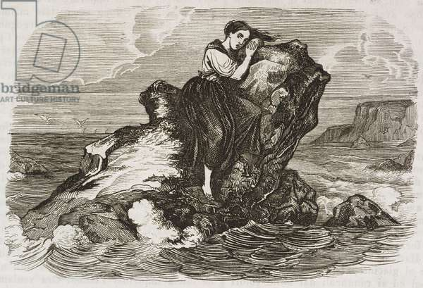 Young woman letting herself die on rock in sea, excerpt from work by Francois-Rene de Chateaubriand (1768-1848), engraving from L'album, giornale letterario e di belle arti, April 28, 1849, Year 16