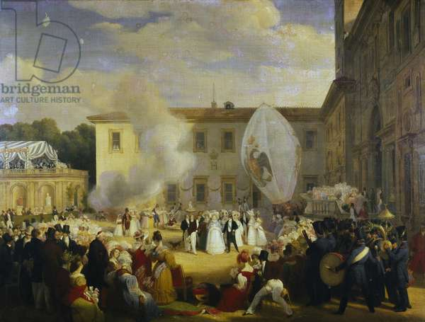 Festival organized by Chateaubriand for Archduchess Elena of Russia, April 29, 1829, by Sebastien Louis Guillaume Norblin de la Gourdaine (1796-1884) and Louis Dupre (1789-1837), oil on canvas. Italy, 19th century.