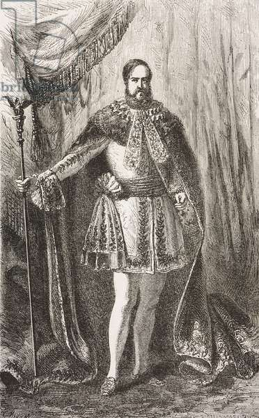 Portrait of Pedro II (1825-1891), Emperor of Brazil, drawing from painting by Francois Auguste Biard, from Two years in Brazil, by Auguste Francois Biard