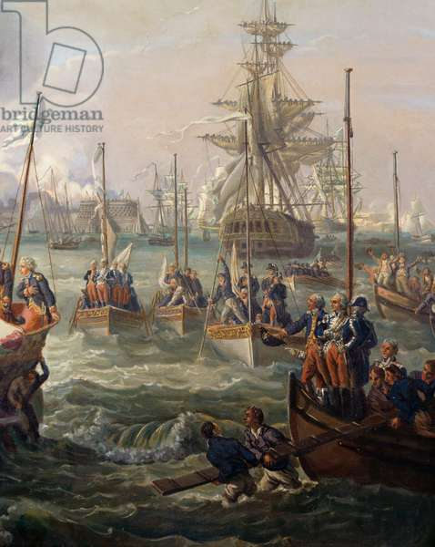 Royal fleet following Louis XVI at Cherbourg June 23, 1786, copy of painting by Louis-Philippe Crepin (1772-1851)