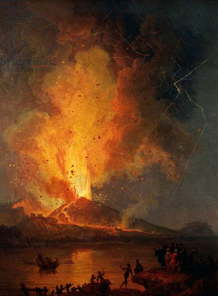 View of Vesuvius erupting