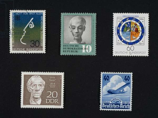 Postage stamps, Day of German Evangelical Church of Dusseldorf, FRG, 1973, Egyptian princess from Tell el-Amarna, 1360 BC, 4th centenary of Gregorian calendar, 1982, Otto Nagel, 10th anniversary of Lufthansa, Third Reich, 1936, Germany, 20th century