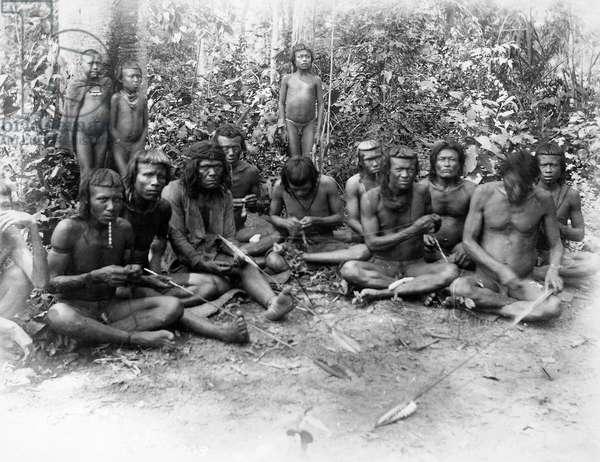 Bororo men making arrows, photograph by Cook, circa 1900, Brazil, 20th century