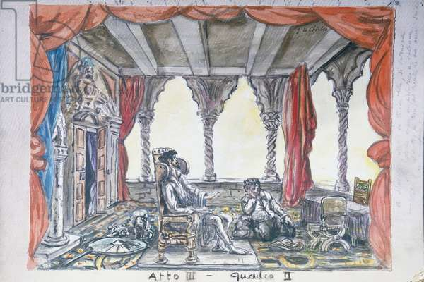 Sketch for the second scene of Act III of Vito Frazzi's Don Quixote, by Giorgio de Chirico, Teatro Comunale di Firenze. Italy, 20th century.