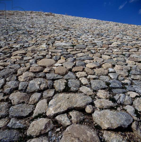 Remains of fortifications in Hattusa (Bogazkoy), capital of Hittite empire (Unesco World Heritage List, 1986), Bogazkale, Turkey, Hittite civilization, 2nd millennium BC, Detail