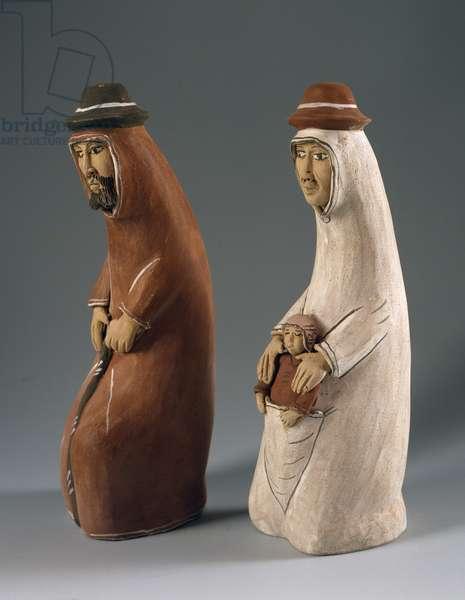 Nativity, figurines from nativity scene called Il curvo , Peru, 20th century