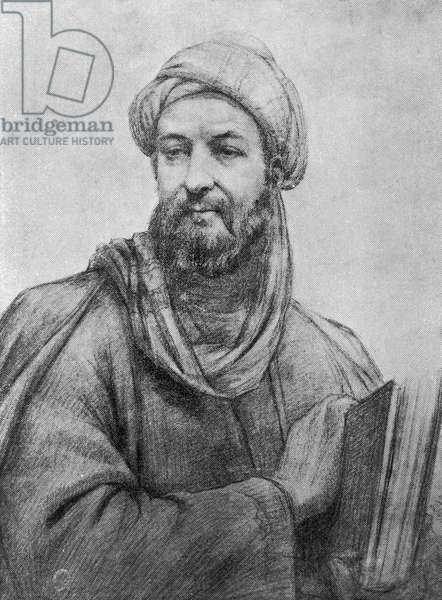 Portrait of Avicenna, latinised variation of Pur Sina (Balkh, 980-Hamadan, 1037), Persian philosopher, physician and writer, engraving