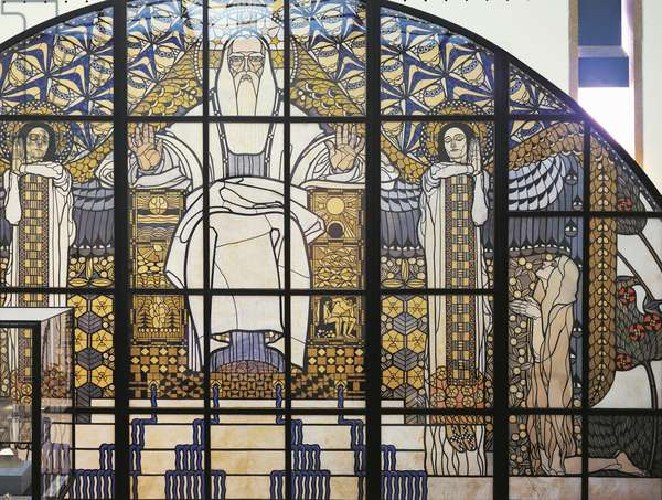 Cardboard model of the stained-glass window, Paradise,, by Koloman Moser (1868-1918), Austria, 1904